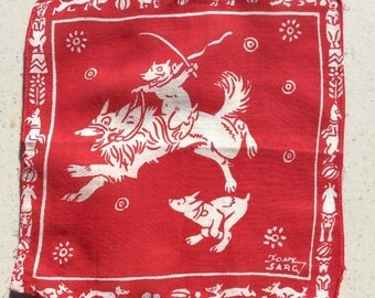 Vintage Textile Tony Sarg Anthro Dog Races