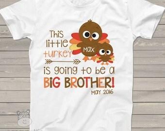 Thanksgiving big brother shirt pregnancy announcement big brother turkey Tshirt BTPAS