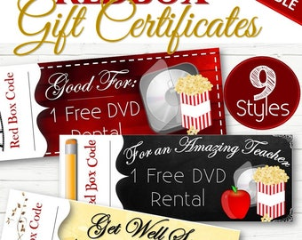 EDITABLE Redbox Gift/Holiday Certificates - INSTANT DOWNLOAD