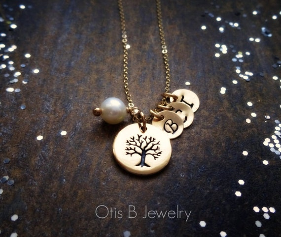 Personalized Family Tree Necklace, Mothers day gift, mothers necklace, gift for mom, grandmother necklace, tree of life, mothers day, otis b