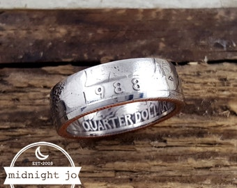 1988 Coin Ring Year Quarter Double Sided Your Size MR0705-Tyr1988