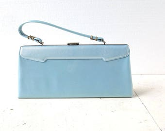 Vintage 1950s Purse | Pearlescent Blue Handbag