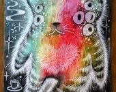 Coffee Bear. Original Art, rainbow, Scratch Art, Oil Pastel, Coffee, Monster, Unframed