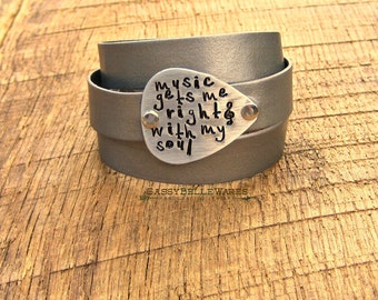 Music Gets Me Right With My Soul Guitar Pick Leather Wrap Bracelet rocker girl festival ready style concert fashion black brown grey silver