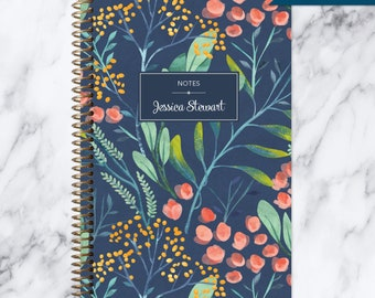 NOTEBOOK personalized journal | lined notebook | personalized gift | stocking stuffer | spiral bound notebook | navy watercolor floral