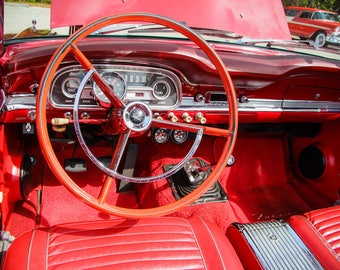 1963 Ford Falcon Futura Steering Wheel Car Photography, Automotive, Auto Dealer, Sports Car, Mechanic, Boys Room, Garage, Dealership Art