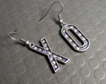 XO Earrings - Marquee Letter Rhinestone Earrings - Valentine's Day Jewelry