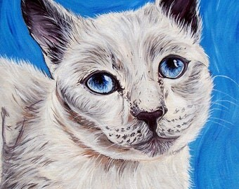 Custom Cat Portrait 12x12inches Pet Painting Acrylic Original Painting Gift Art