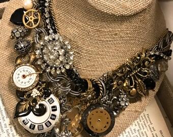 Dreams of Paris Charm Necklace, Bib Necklace, Statement Bib, Steampunk Necklace,