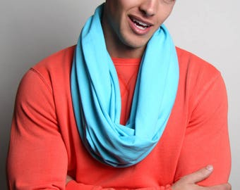 Baby Blue Scarf, Blue Circle Scarf, Men's, Women's, Soft, Jersey Cotton