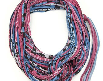Maroon & Navy Infinity Scarf, Jersey Layered Scarf, Fabric Statement Necklace, Jersey Cotton, Chunky, Trendy, Fashion Accessories, Gift Idea