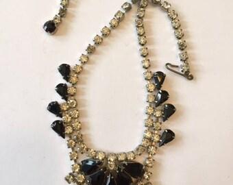 Rhinestone Choker Necklace with Black Gems