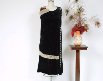 Vintage 1920s Dress - Unique Sleeveless Cotton Velveteen 20s Dress With Rabbit Fur Trim, Numerous Buttons and Detailed Embroidery