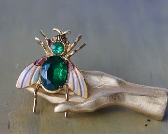 Coro Insect Pin, Coro Insect Brooch, Adolph Katz Design, Coro Scatter Pin, Coro Pegasus Mark, Signed Vintage Pin, Green Fly Pin,  Coro Fly