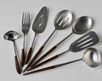 Ekco Eterna Serving Set, Ekco Canoe Muffin Serving Set, Danish Modern Flatware, Ekco Canoe, Ekco Japan Serving Set, Vintage Kitchen, MCM