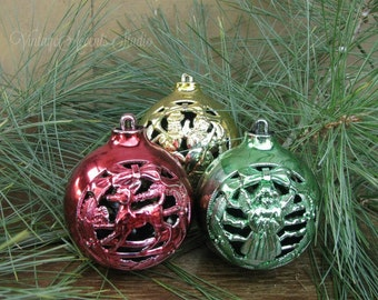 True Vintage 1950's Christmas Tree Ornaments Molded Plastic Cut Out Design Holiday Home Decor