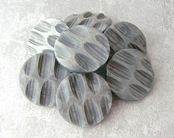 Carved Gray Buttons, 28mm 1-1/8 inch - Vintage Retro Mod Grey Shank Buttons - VTG NOS Silvery Gray Modern Geometric Plastic Buttons PL142