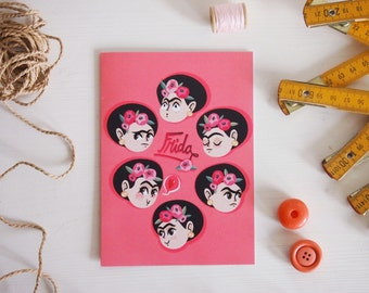 Frida's emotions greeting card & envelope illustration