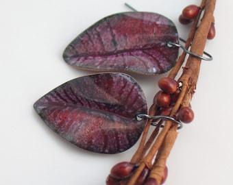Dark Ruby Pink Semi-transparent Copper Enameled Leaf Earrings, Art Earrings, Vitreous Enamel Jewelry, Gift for Her, WillOaks Studio Original