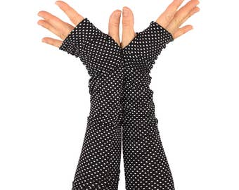 Arm Warmers in Black and White Polkadots - Sleeves - Fingerless Gloves