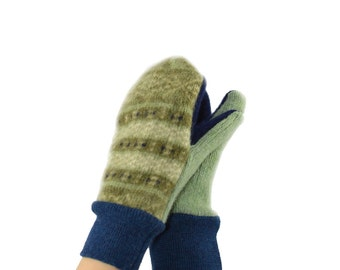 Kids Mittens in Sage Green and Navy Blue - Recycled Wool Sweaters