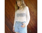 White Crocheted Net Knit Cover Up - Vintage 90s - S/M