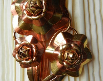 Large 2 Tone Abstract Flowers Copper Brass Floral Spray Fur Clip Pin