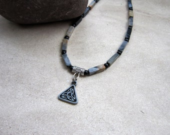 Mens Necklace, Celtic Knot, Mens Gifts, Mens Jewelry, Gifts for him, Groomsman Gifts, Mens Stone Necklace, Teen Boy Necklace, Unisex