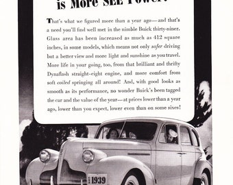 1939 Buick 412 Automobile Advertisement - Vintage Antique 30s Era Art Ad for Framing