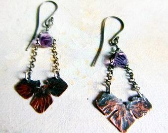 Rustic statement copper earrings, long dangle copper earrings, oxidized copper, amethyst and sterling silver