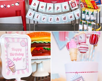 Vintage Drive-In Movie Birthday PRINTABLE Party Collection - You Customize EDITABLE TEXT >> Instant Download | Paper and Cake