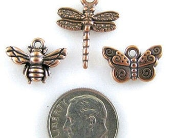TierraCast Charm Mix-Copper Dragonfly, Butterfly & Bee (3 PCS)