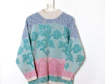Vintage 80s PASTEL SPARKLE Acrylic Sweater Rose lavender Pink teal Flowers Paisley