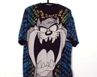 Vintage 90s TAZ Allover print T-Shirt XL Looney Tunes Tasmanian Devil