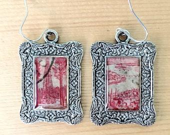 Landscape Postage Stamp Earrings