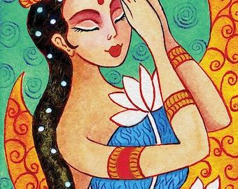 Indian lotus bride art Indian woman painting Indian decor affordable art gifts artart giclee, feminine decor, beauty painting print 8x11+
