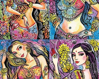Mermaid art, Kuan Yin, Kali, Soul of India, Goddess art, Indian decor, giclee, large painting woman, mermaid painting print 8x12+
