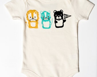 Oh My - lion tiger and bear, Wizard of Oz, organic, screen printed baby bodysuit, funny cute baby gift, gender neutral, shower present