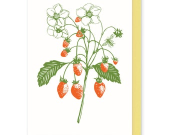 letterpress card, Strawberry Card, Nature Card, Wildflowers Berries Card, Blank Greeting Cards, Handmade Card, Mothers Day, Thank You Card