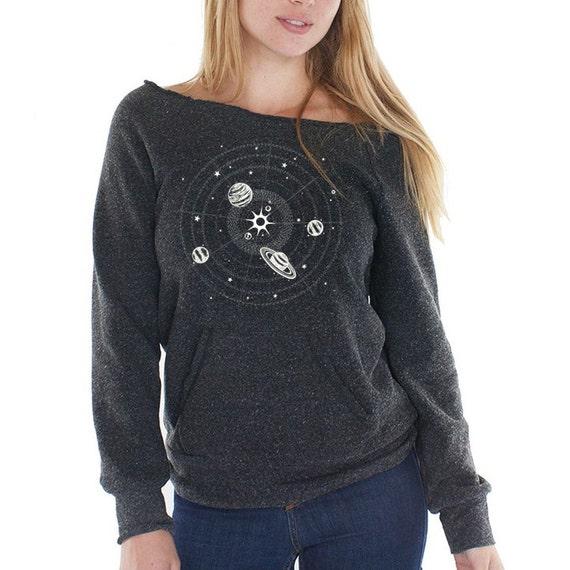 Solar system sweatshirt women 39 s fleece raglan space for Solar system fleece