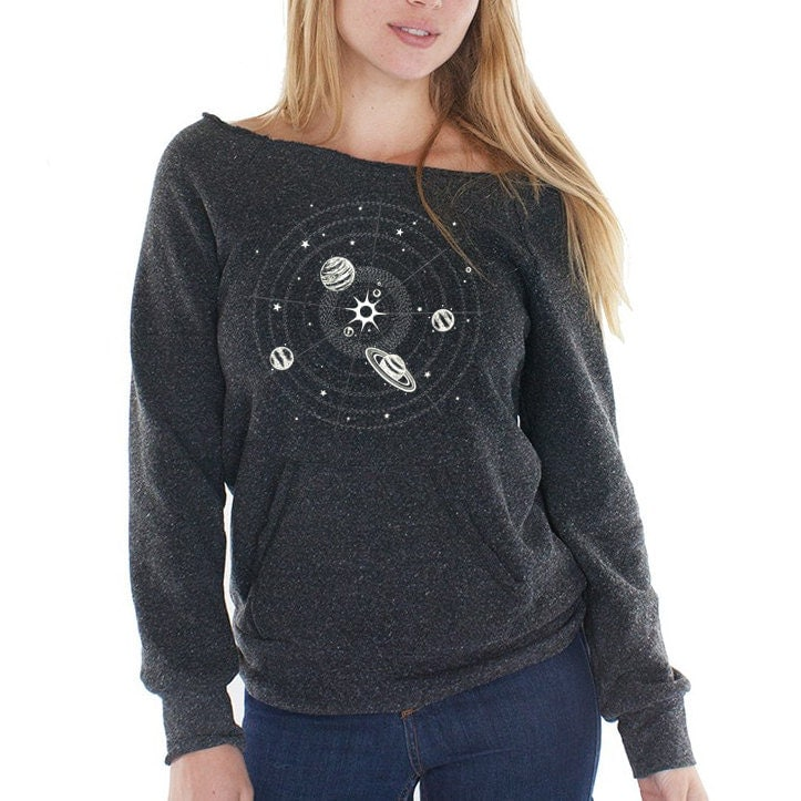 Solar system sweatshirt women 39 s fleece raglan space for Solar system fleece fabric