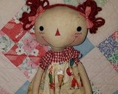 Primitive handmade cloth Raggedy Ice Cream doll, Homespun from the Heart, Raggedy collectible gift