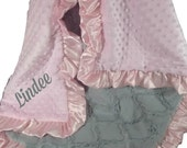 Pink Minky Dot and Gray Lattice Baby Blanket Can Be Personalized