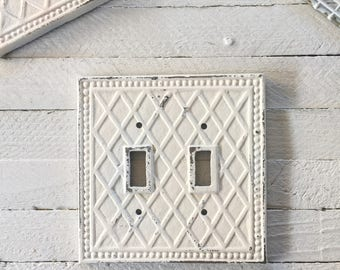 Metal Wall Decor, Light Switch Cover, Creamy White, Shabby Chic Iron, Lighting
