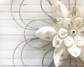 LARGE Metal Wall Flowers, Floral Metal Wall Art,Metal Wall Decor, Flower Wall Decor