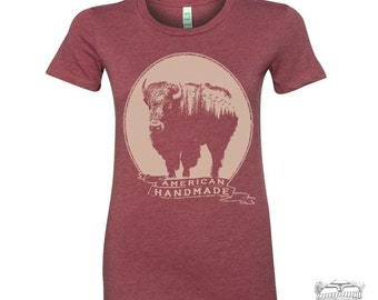 Womens BISON t-shirt hand screen printed s m l xl xxl (+ Colors Available) Zen Threads