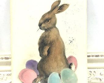 Vintage Easter Postcard, Vintage Postcard, Easter Card, Easter Ephemera, Easter Greetings, Brown Bunny Rabbit, Easter Bunny, Colored Eggs