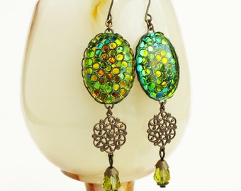 Iridescent Green Glass Dangle Earrings Large Fish Scale Earrings Olive Green Statement Jewelry