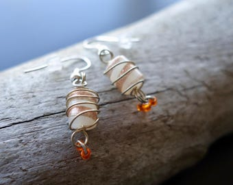Elegant Glass Lampwork Bead Earrings | Champagne Orange and Cream Dangle with Silver Accents