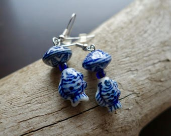 Elegant Fish Porcelain Ceramic Bead Earrings | White and Blue Dangle with Silver Accents